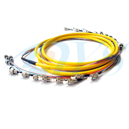 FC / UPC 12 Color Bundle Fiber Optic Patch Cord 0.9mm Single Mode Stable Capability