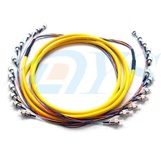 FC / UPC 12 Color Bundle Fiber Optic Patch Cord 0.9mm Single Mode Stable Capability المزود